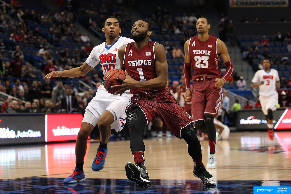 Joch Brown, Temple, in action during the Temple Vs SMU Semi Final game at the American Athletic Conference Men's College Basketball Championships 2015 at the XL Center, Hartford, Connecticut, USA. 14th March 2015. Photo Tim Clayton