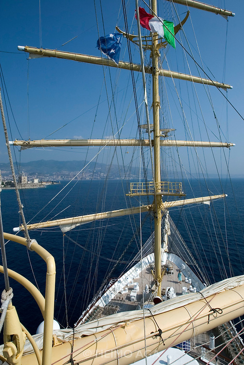 Passengers are allowed to climb the mast while the Royal Clipper is passing the Straits of Messina.