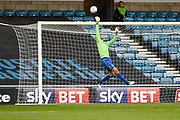 Leeds United goalkeeper Felix Wiedwald (13) tips a Millwall shot over the bar during the EFL Sky Bet Championship match between Millwall and Leeds United at The Den, London, England on 16 September 2017. Photo by David Charbit.