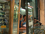 Vietnam, Hanoi: glasses shop.