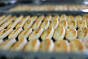 Freshly made Sasa-kamaboko line the shelves at Oizen Shoten's factory in Tome City, Miyagi Prefecture, Japan on 11 Sept. 2012.  Photographer: Robert Gilhooly