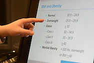 Dr. Michael Fishman, MD points to body mass index percentages on his computer Friday, November 18, 2016 in Sellersville, Pennsylvania. (Photo by William Thomas Cain)