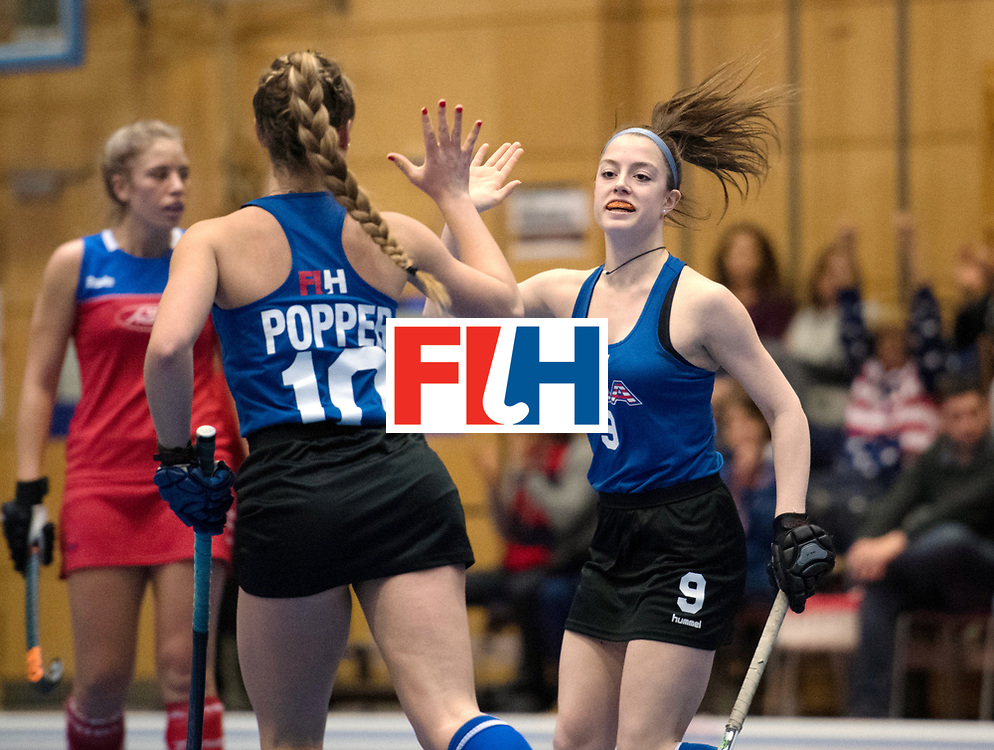 BERLIN - Indoor Hockey World Cup<br /> United States - Namibia<br /> foto: Sammy Popper and Madison Orobono <br /> WORLDSPORTPICS COPYRIGHT FRANK UIJLENBROEK