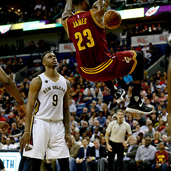 Jan 23, 2017; New Orleans, LA, USA; Cleveland Cavaliers forward LeBron James (23) dunks over New Orleans Pelicans forward Terrence Jones (9) during the second quarter of a game at the Smoothie King Center. Mandatory Credit: Derick E. Hingle-USA TODAY Sports