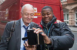 © Licensed to London News Pictures. 30/03/2017. London, UK. Former Mayor of London Ken Livingstone stops for a selfie for a delivery driver as he arrives at Church House for a Labour Party disciplinary hearing. Mr Livingstone has been accused of anti-Semitism after comments he made in April 2016 claiming that Hitler supported Zionism in the 1930's. Photo credit: Peter Macdiarmid/LNP