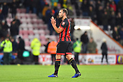 Match winner Steve Cook (3) of AFC Bournemouth applauds the home fans at full time after a 2-1 win over Norwich during the EFL Cup 4th round match between Bournemouth and Norwich City at the Vitality Stadium, Bournemouth, England on 30 October 2018.