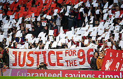 22.10.2011, Anfield Stadion, Liverpool, ENG, PL, FC Liverpool - Norwich City, im Bild Liverpool supporters on the famous Spion Kop hold up a mosaic reading JFT96 calling for Justice for the 96 before the Premiership match against Norwich City at Anfield. The fans are backing a campaign for the families of the 96 victims of the Hillsborough Stadium Disaster in 1989 who have waited over 22 years for Justice // during the Premier League football match between FC Liverpool - Norwich City, at Anfield Stadium, Liverpool, United Kingdom on 22/10/2011. EXPA Pictures © 2011, PhotoCredit: EXPA/ Propaganda Photo/ David Rawcliff +++++ ATTENTION - OUT OF ENGLAND/GBR+++++