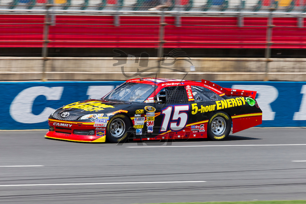 CONCORD, NC - MAY 26, 2012:  Clint Bowyer (15) brings his 5-Hour Energy Toyota on the track for a practice session for the Coca-Cola 600 at the Charlotte Motor Speedway in Concord, NC.