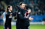 25.11.2015. Malm&ouml;, Sweden. <br /> Zlatan Ibrahimovic of Paris celebrates with team-mates after scoring their fourth goal during their UEFA Champions League match against Malm&ouml; FF.<br /> Photo: &copy; Ricardo Ramirez.