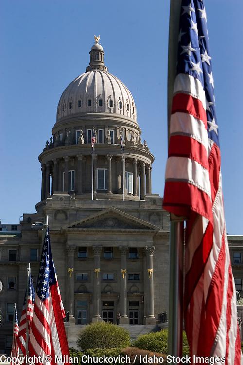 Idaho State Capital building and American flags Boise Idaho