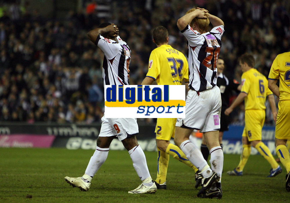 Photo: Rich Eaton.<br /> <br /> West Bromwich Albion v Sheffield Wednesday. Coca Cola Championship. 13/04/2007. West Broms Nathan Ellington left and Paul McShane rue another missed chance in the first half