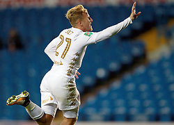 Leeds United's Samu Saiz celebrates his hat-trick during the Carabao Cup, First Round match at Elland Road, Leeds.