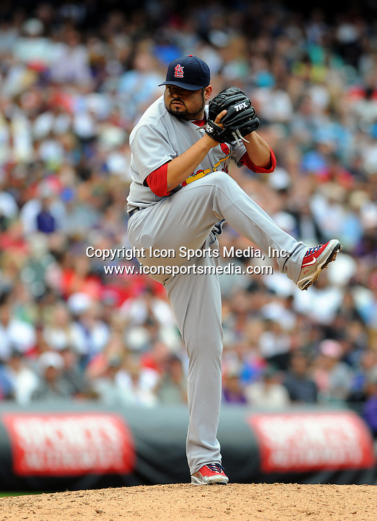 08 JULY 2010: St. Louis Cardinals relief pitcher Dennys Reyes (36) during a regular season Major League Baseball game between the Colorado Rockies and the St. Louis Cardinals at Coors Field in Denver, Colorado. The Rockies beat the Cardinals 4-2.  *****For Editorial Use Only*****
