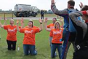"ExCLUSIVE<br /> Celebrity big Brother Star George Gilby jumped from a plane yesterday in Northampton for Charity,<br /> <br /> George who was also seen with Big Brother star Dee kelly at the event <br /> finally plucked up the courage after a couple of hours of training, was taking part for ""Muscular Dystrophy""<br /> ©Exclusivepix"