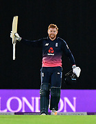 100 for Jonny Bairstow of England - Jonny Bairstow of England celebrates scoring his century during the One Day International match between England and West Indies at the Ageas Bowl, Southampton, United Kingdom on 29 September 2017. Photo by Graham Hunt.