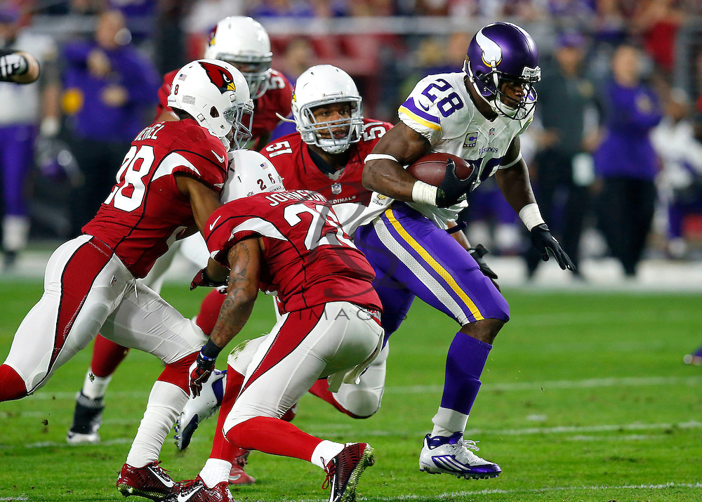 Minnesota Vikings running back Adrian Peterson (28) runs past Arizona Cardinals middle linebacker Kevin Minter (51), free safety Rashad Johnson (26) and  cornerback Justin Bethel (28) during the first half of an NFL football game, Thursday, Dec. 10, 2015, in Glendale, Ariz. (AP Photo/Rick Scuteri)