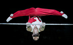 England's James Hall on his way to Silver during the Men's Horizontal Bar at the Coomera Indoor Sports Centre during day five of the 2018 Commonwealth Games in the Gold Coast, Australia.