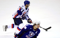 Lubomir Visnovsky of Slovakia and Anze Kopitar of Slovenia at ice-hockey game Slovenia vs Slovakia at Relegation  Round (group G) of IIHF WC 2008 in Halifax, on May 09, 2008 in Metro Center, Halifax, Nova Scotia, Canada. Slovakia won 5:1. (Photo by Vid Ponikvar / Sportal Images)
