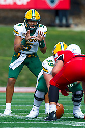 NORMAL, IL - October 05: Trey Lance in the shotgun behind Karson Schoening during a college football game between the ISU (Illinois State University) Redbirds and the North Dakota State Bison on October 05 2019 at Hancock Stadium in Normal, IL. (Photo by Alan Look)