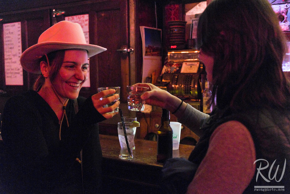 Sara and Marisa, Having a Toast at The Old Western Saloon, Point Reyes Station, California