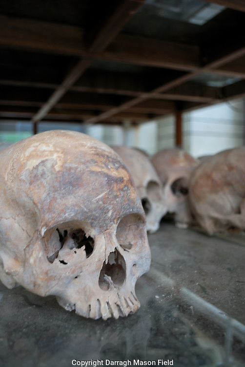Skulls of young adults, victims of the Khmer Rouge.  The Skull in the foreground has cut marks