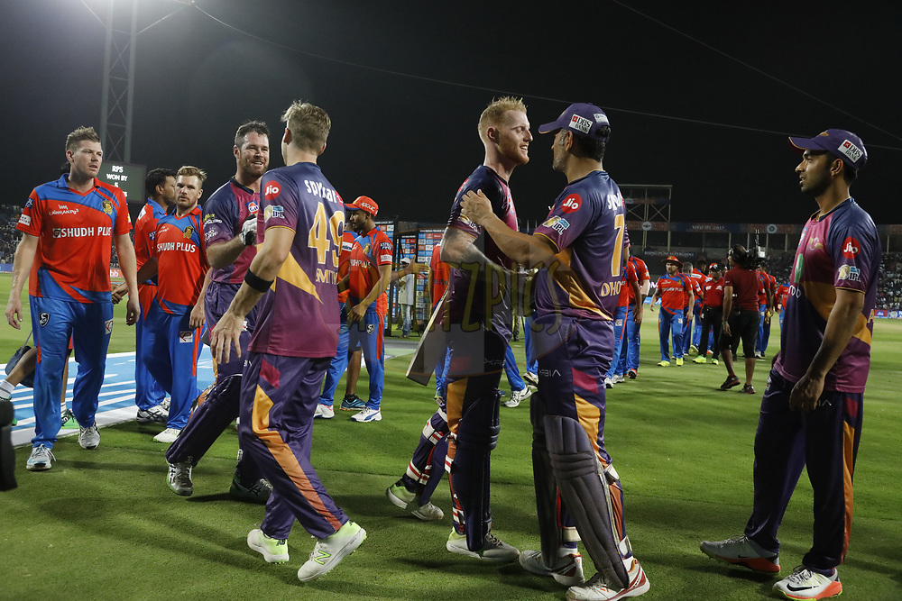Rising Pune Supergiants and the Gujarat Lions  players shke hands after the match 39 of the Vivo 2017 Indian Premier League between the Rising Pune Supergiants and the Gujarat Lions held at the MCA Pune International Cricket Stadium in Pune, India on the 1st May 2017<br /> <br /> Photo by Arjun Singh - Sportzpics - IPL