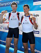 Varese,  ITALY. 2012 FISA European Championships, Lake Varese Regatta Course. ..GBR LM2X  Bow.Chris BODDY and Michael MOTTRAM Bronze Medalist Men's Lightweight Double Sculls..12:45:37  Sunday  16/09/2012 .....[Mandatory Credit Peter Spurrier:  Intersport Images]  ..2012 European Rowing Championships Rowing, European,  2012 010881.jpg.....