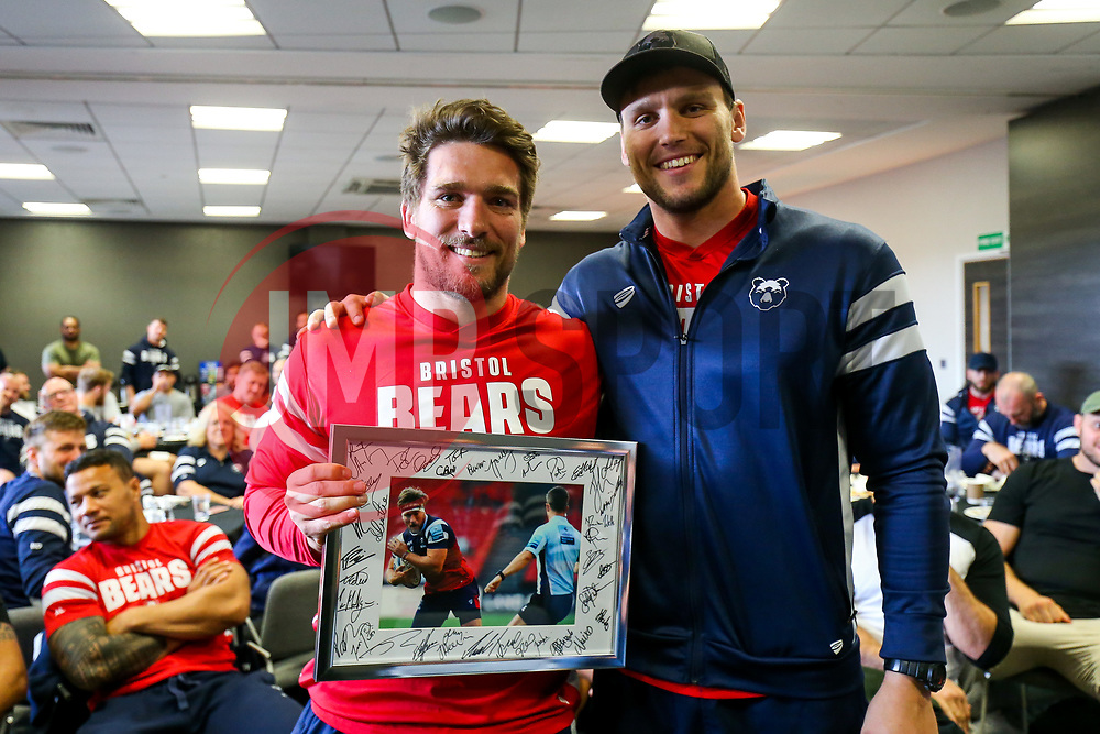 Sam Jeffries thanks Nick Fenton-Wells as the Bristol Bears squad gather to make presentations to departing players after the Bristol Bears Team Run ahead of the Sale Sharks Game - Rogan/JMP - 02/05/2019 - RUGBY UNION - Ashton Gate Stadium - Bristol, England - Bristol Bears v Sale Sharks - Gallagher Premiership Rugby.