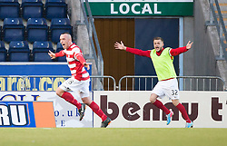 Hamilton's Darian Mackinnon celebrates after scoring their goal.<br /> Falkirk 1 v 1 Hamilton, Scottish Premiership play-off semi-final first leg, played 13/5/2014 at the Falkirk Stadium.