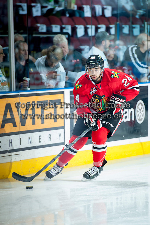 KELOWNA, CANADA - APRIL 18: Mathew Dumba #24 of the Portland Winterhawks skates with the puck during warm up against the Kelowna Rockets on April 18, 2014 during Game 1 of the third round of WHL Playoffs at Prospera Place in Kelowna, British Columbia, Canada.   (Photo by Marissa Baecker/Shoot the Breeze)  *** Local Caption *** Mathew Dumba;