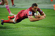 Jake Schatz scores a try for the Reds. Investec Super Rugby - Highlanders v Reds 27 February 2015, Forsyth Barr Stadium, Dunedin, New Zealand. Photo: New Zealand. Photo: Richard Hood/www.photosport.co.nz