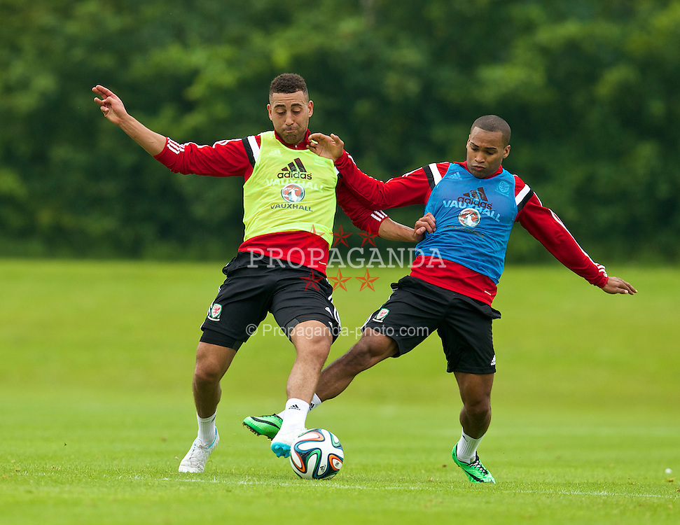 ASHBY DE LA ZOUCH, ENGLAND - Saturday, May 31, 2014: Wales' Lewin Nyatanga and Jermaine Easter during a training session at Champneys Springs ahead of the International Friendly match against the Netherlands. (Pic by David Rawcliffe/Propaganda)