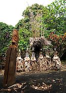 Vanuatu, Malampa Province, Ambrym Island, rom dance masks and giant slit drum