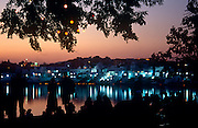 View from the ghats in front of Sunset Cafe across the holy lake at Pushkar, Rajasthan, India