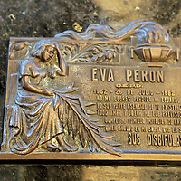 South America, Argentina, Buenos Aires. Tomb of Eva Peron Plaque at La Recoleta Cemetary.
