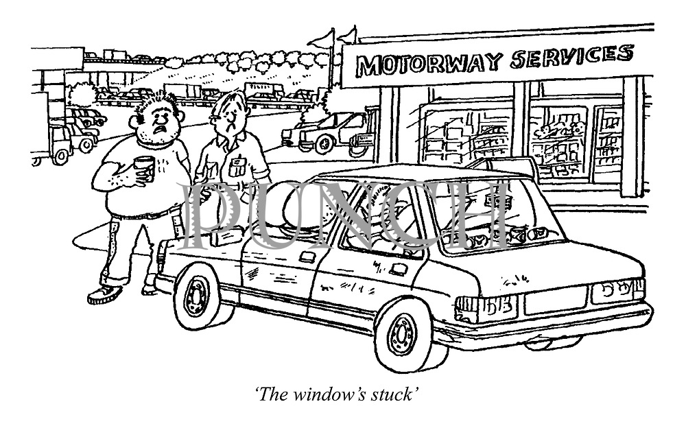 'The window's stuck' (a man has his moonie stuck in his car window at the motorway services)