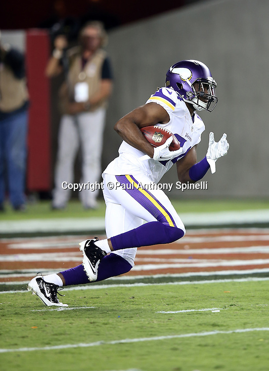 Minnesota Vikings wide receiver and kick returner Cordarrelle Patterson (84) returns a kick during the 2015 NFL week 1 regular season football game against the San Francisco 49ers on Monday, Sept. 14, 2015 in Santa Clara, Calif. The 49ers won the game 20-3. (©Paul Anthony Spinelli)