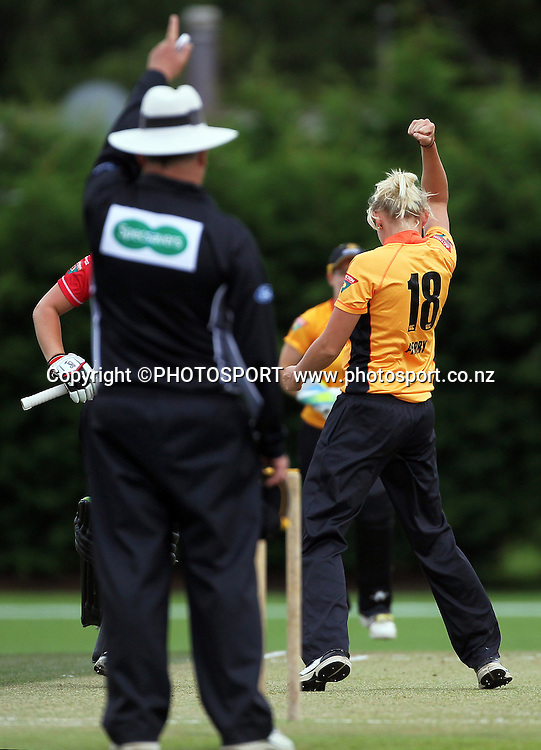 Elizabeth Perry celebrates a wicket for Wellington. Canterbury Magicians v Wellington Blaze. Action Cricket Twenty20, womens cricket match, Lincoln No. 3, Lincoln University, Thursday 29 December 2011. Photo : Joseph Johnson / photosport.co.nz