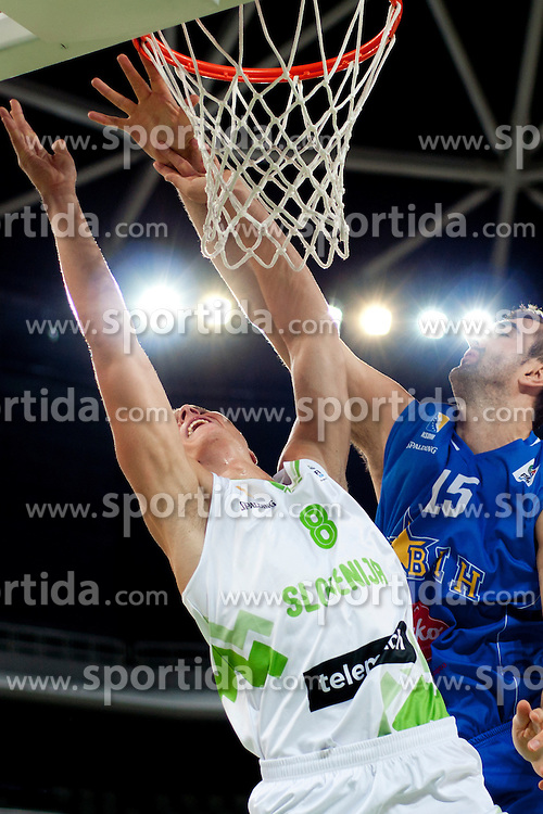 Edo Muric of Slovenia and Nedzad Sinanovic of Bosnia during friendly basketball match between National teams of Slovenia and Bosnia i Hercegovina of Adecco Ex-Yu Cup 2012 as part of exhibition games 2012, on August 3rd, 2012, in Arena Stozice, Ljubljana, Slovenia. (Photo by Urban Urbanc / Sportida)