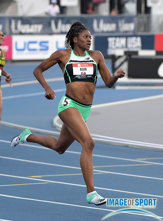 Jul 25, 2019; Des Moines, IA, USA; Kendall Ellis places second in women's 400m heat in 51.29 to advance during the USATF Championships at Drake Stadium.