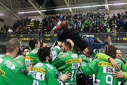 Schedler Guntram and players of EHC Bregenzerwald celebrate victory and becoming champions of Inter National League during 5th game of final INL league ice hockey match between HK Playboy Slavija and EHC Bregenwald at Dvorana Zalog, on April 3, 2013, in Ljubljana, Slovenia. (Photo by Matic Klansek Velej / Sportida)