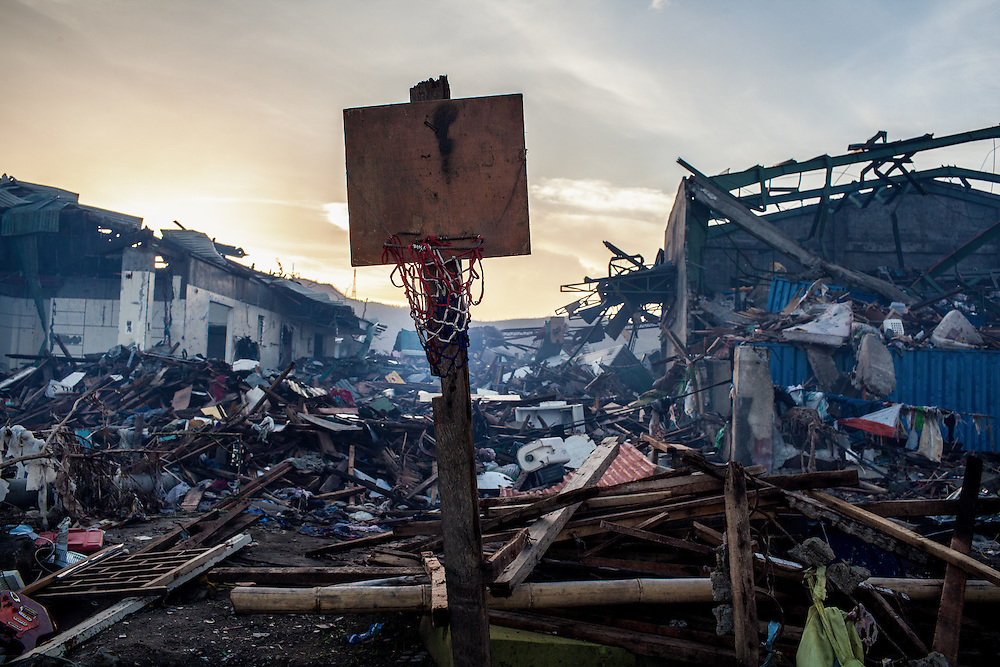 A basketball hoop left standing amidst the destruction caused by Typhoon Haiyan.