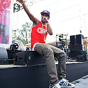 COLUMBIA, MD, -September 10th, 2011 - Kanye West protege Big Sean takes a load off during his set at  the 2011 Virgin Mobile FreeFest at Merriweather Post Pavilion.  (Photo by Kyle Gustafson/FTWP).