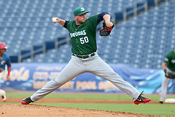 July 17, 2018 - Clearwater, FL, U.S. - TAMPA, FL - JULY 17: Rookie Davis (50) of the Tortugas delivers a pitch to the plate during the Florida State League game between the Daytona Tortugas and the Clearwater Threshers on July 17, 2018, at Spectrum Field in Clearwater, FL. (Photo by Cliff Welch/Icon Sportswire) (Credit Image: © Cliff Welch/Icon SMI via ZUMA Press)