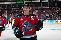 KELOWNA, BC - NOVEMBER 1: Nolan Foote #29 of the Kelowna Rockets is all smiles after the win against the Prince George Cougars and his first home game as captain  at Prospera Place on November 1, 2019 in Kelowna, Canada. (Photo by Marissa Baecker/Shoot the Breeze)
