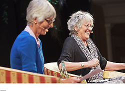 Writer Germaine Greer addresses a full Wellington Town Hall during Writers & Readers Week at the New Zealand International Arts Festival.