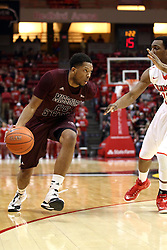 28 January 2015:   Gavin Thurman works the 3 point line guarded by Deontae Hawkins during an NCAA MVC (Missouri Valley Conference) men's basketball game between the Missouri State Bears and the Illinois State Redbirds at Redbird Arena in Normal Illinois