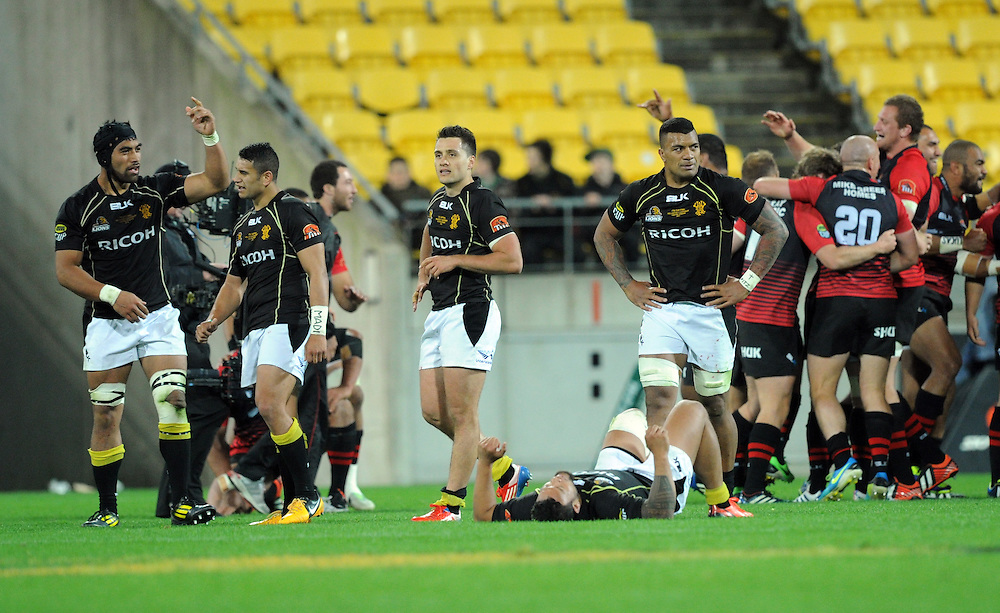 Wellington after their defeat to Canterbury in the ITM Cup Rugby Premiership Final at Westpac Stadium, Wellington, New Zealand, Saturday, October 26, 2013. Credit:SNPA / Ross Setford