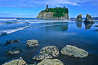 Ruby Beach during low tide with Abbey Island in the distance.  Olympic National Park, Washington.
