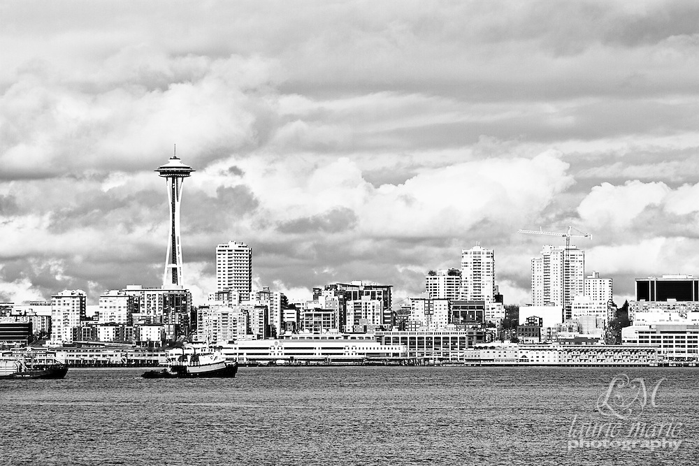 Black and White Seattle skyline across the Puget Sound